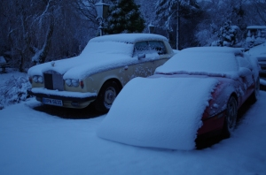 Rolls Royce and Corvette in the snow...